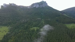 Aerial view of coniferous forest and rocky hill Velky Rozsutec, misty day.