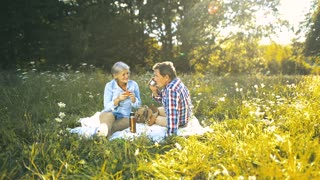 Beautiful senior woman and man sitting on blanket, drinking tea or coffee, eating apple. Sunny summer meadow.