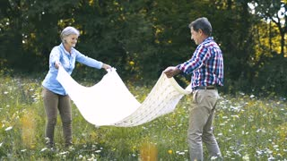 Beautiful senior woman and man spreading blanket for picnic. Sunny summer meadow.