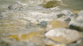 Calm stream around the rocks. Flowing water in the mountain river. Close up.