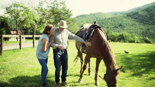 A happy senior couple holding a horse grazing on a pasture. Slow motion.