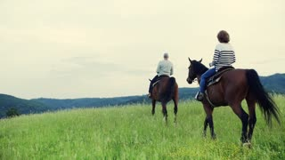 A happy senior couple riding horses on a meadow in nature. Slow motion. Copy space. Rear view.