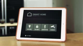 A tablet with smart home control system. Slow motion.