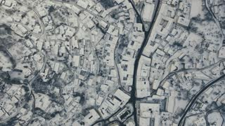 Aerial view of small town in winter.