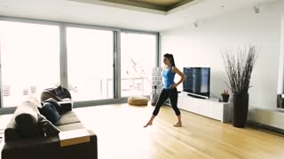 Subscription Library Beautiful Young Fit Woman Working Out At Home In Living Room Doing Yoga Or Pilates