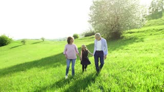 Cheerful senior couple with granddaughter outside in spring nature, walking and talking.