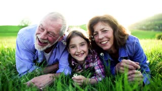 Close-up of a senior couple with granddaughter outside in spring nature, lying on the grass and relaxing. Slow motion.