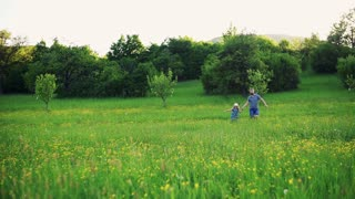 Father with a small daughter running on a meadow in spring nature. Slow motion.