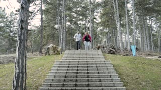 Fitness trainer in park running down the stairs with overweight woman.