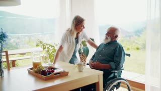 Health visitor and a senior man in wheelchair during home visit, talking. Slow motion.