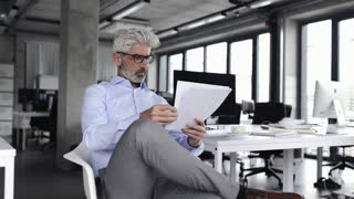 Mature businessman in blue shirt in the office.