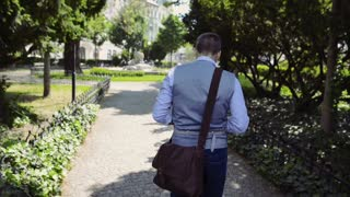 Mature businessman walking in the city park. Rear view.
