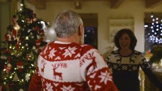 Senior couple at Christmas time.