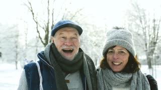 Senior couple in sunny winter nature.