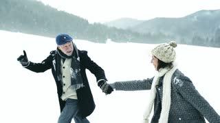 Senior couple on a walk on winter day.