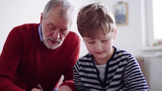 Senior grandfather with a small grandson at home drawing a picture.