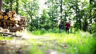 Senior sporty couple running in the forest outdoors in sunny nature. Slow motion.