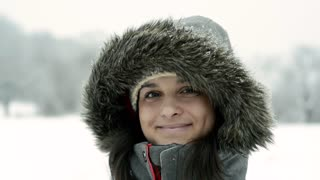 Teenage girl in winter nature.