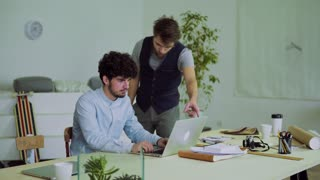 Young businessman being angry with his colleague. Start-up business