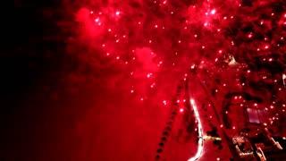 Firework display. Colorful Firework lights streaks in the night sky