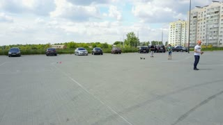 VINNITSA, UKRAINE - MAY 2017: Europe Day, hobby radio-controlled car racing on a road