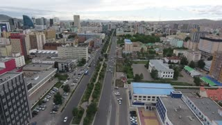 Aerial drone shot of ulaanbaatar mongolia. Following the road in city center