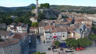 Aerial view of the city Saint ambroix. Rural village in south of France.
