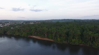 Beach along the Oiapoque River. Drone aerial view. Amazonian forest