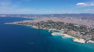 Marseille Mediterranean Coastline Aerial View Sunny Day Beautiful