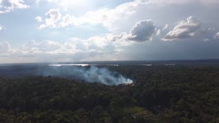 Slash-and-burn agriculture, aerial view of a fire smoking in amazonian forest.