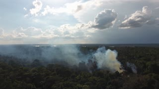 Slash-and-burn agriculture in Guiana. Close drone shot over a smoke plume