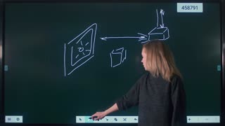 Woman writes and draws on the interactive whiteboard. New technology for school