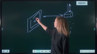 Woman writes and draws on the interactive whiteboard