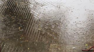 Rain drops falling on the sidewalk in the summer