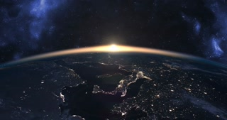 Beautiful footage of sunset over Earth