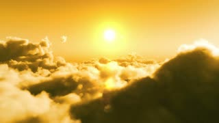 Flight over clouds, yellow sunset