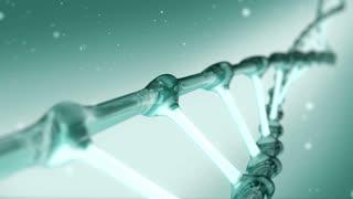 Green DNA spiral rotating
