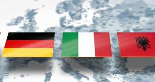 NATO members flags over Europe