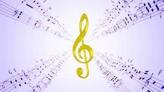 Rotating violin clef & blue music sheets, loop