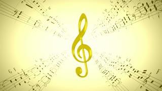 Rotating violin clef & music sheets, loop
