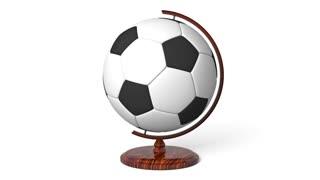 Soccer ball globe rotating, loop