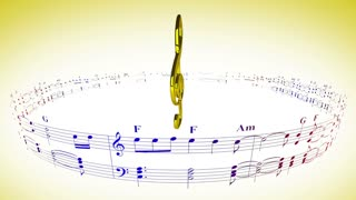 Violin clef rotating with music sheets, loop