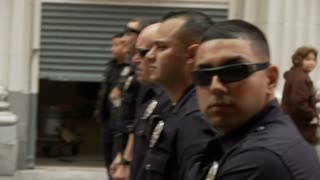 LAPD Officers Watch Protest
