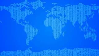 Binary World Map - Dark Blue