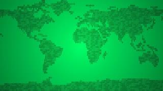 Binary World Map - Dark Green