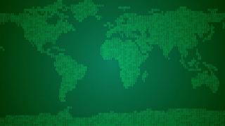 Binary World Map - Light Green