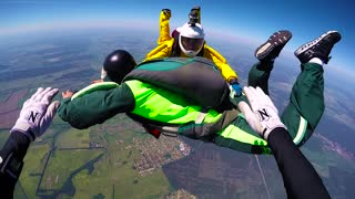 Skydivers in free fall, view from helmet