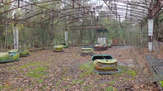 Abandoned amusement park and car rides after catastrophe in town Pripyat Ukraine