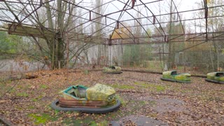 Empty attraction park and car rides in abandoned town Pripyat Ukraine
