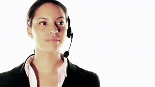 Business woman on white: call center conversation